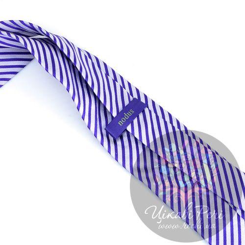 Галстук Nodus шелковый синий в белую полоску, фото