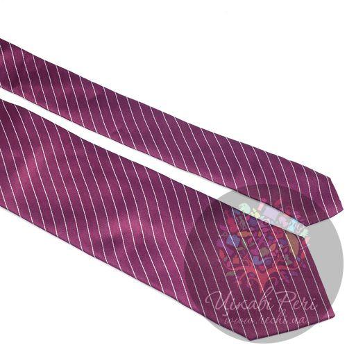 Галстук Nodus шелковый гладкий сиреневый в тонкую белую полоску, фото