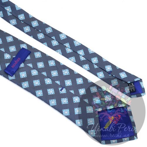 Галстук Nodus шелковый серый в голубой ромб, фото