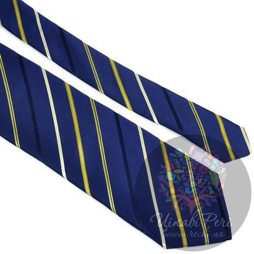 Галстук Nodus шелковый классический синий с белой и желтой полосой, фото