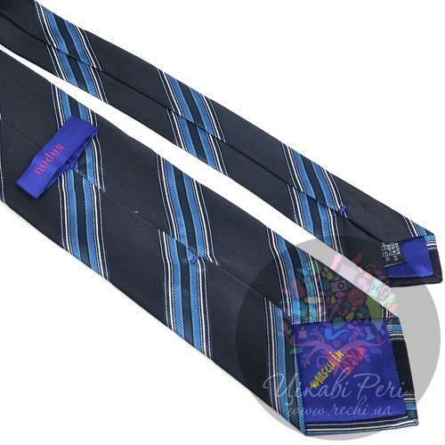 Галстук Nodus шелковый классический черно-синий с голубыми полосами, фото
