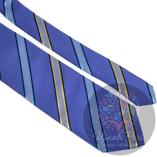 Галстук Nodus шелковый синий с интересными клетчатыми полосами, фото
