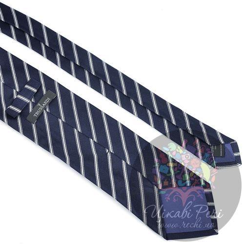 Галстук Trussardi классический шелковый темно-синий в белую полосу, фото