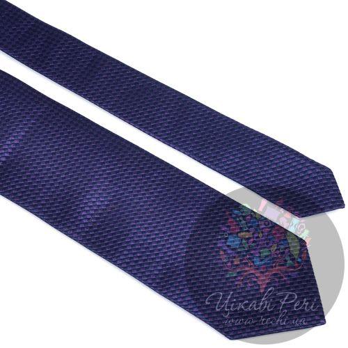 Галстук Trussardi шелковый с черно-фиолетовым роскошным плетением, фото