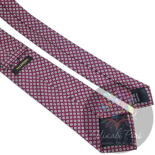 Галстук Valentino шелковый бордовый с ромбами, фото