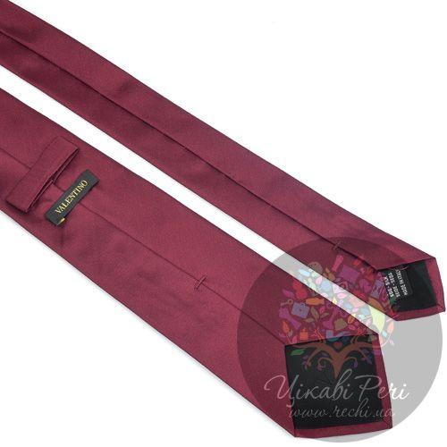 Галстук Valentino шелковый гладкий винного цвета, фото