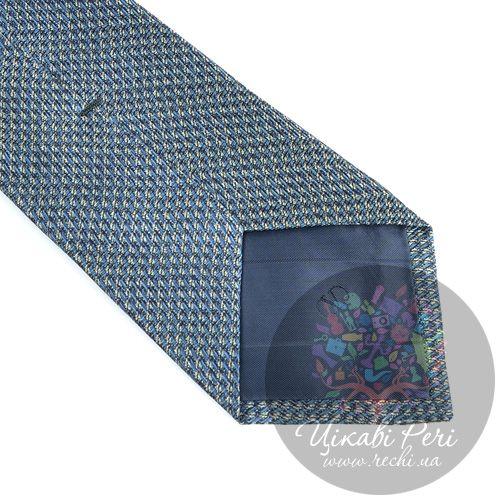 Галстук Valentino шелковый голубовато-серый с мелким рисунком, фото
