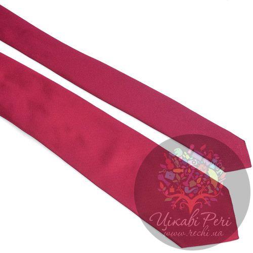 Галстук Valentino шелковый бордовый с фактурным плетением нити, фото
