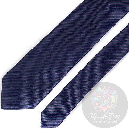 Галстук Trussardi синий в тонкую сиреневую полоску, фото