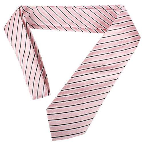 Шелковый галстук Valentino розового цвета в бело-черную полоску, фото