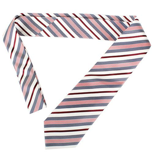 Шелковый галстук Valentino белый в бордовую и синюю полоску, фото