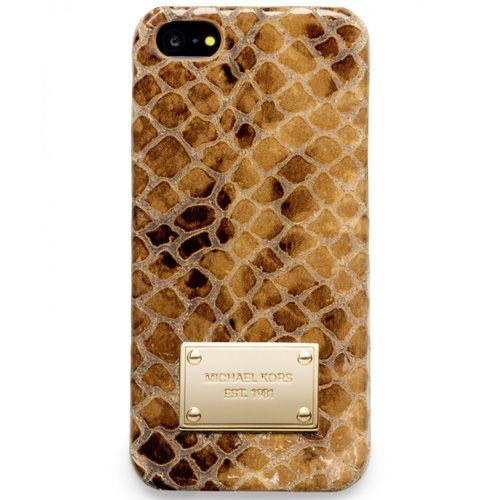 Чехол MICHAEL Michael Kors для iPhone с золотистой имитацией кожи змеи, фото