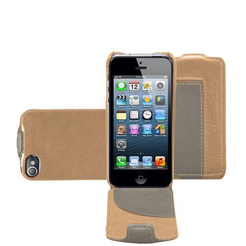 Кожаный чехол Piquadro Vibe для iPhone 5 бежевый, фото