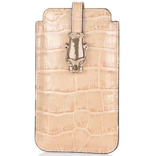 Чехол для iPhone Cavalli Class Daphne кожаный бежевый, фото