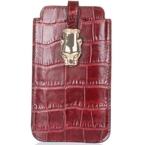 Чехол для iPhone Cavalli Class Daphne кожаный бордовый, фото
