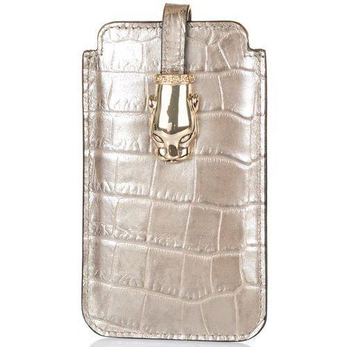 Чехол для iPhone Cavalli Class Daphne кожаный бронзово-жемчужный, фото