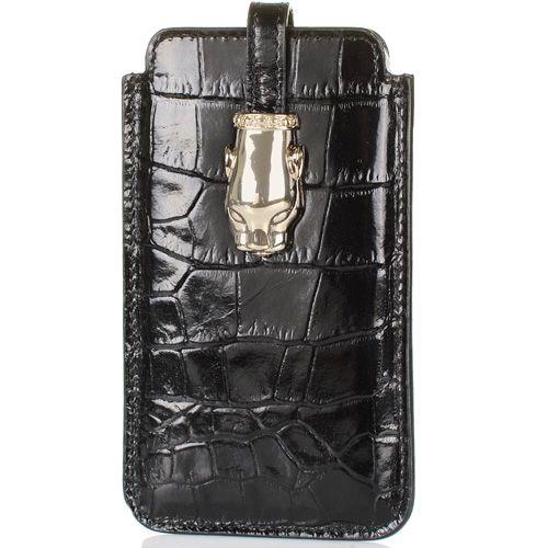 Чехол для iPhone Cavalli Class Daphne кожаный черный, фото