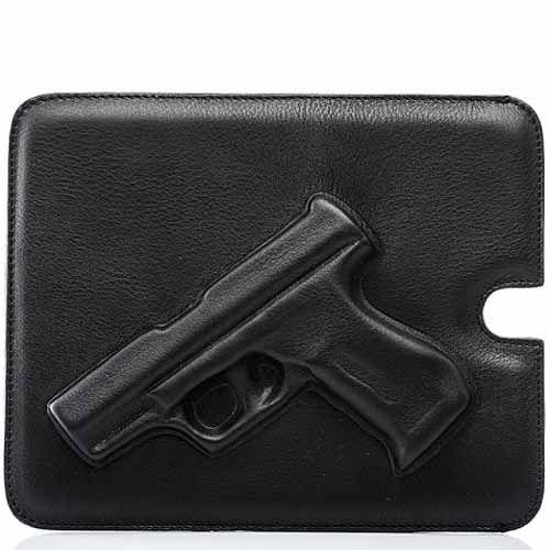 Чехол Vlieger & Vandam Guardian Angel Gun кожаный черный для iPad, планшета, фото