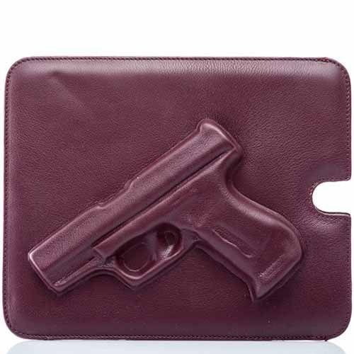 Чехол Vlieger & Vandam Guardian Angel Gun кожаный бордовый для iPad, планшета, фото
