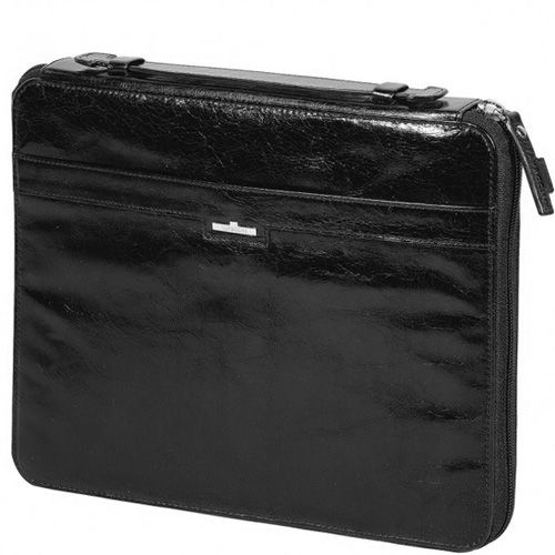 Чехол Tavecchi Vintech для планшета 10' черный кожаный на молнии с ручкой, фото