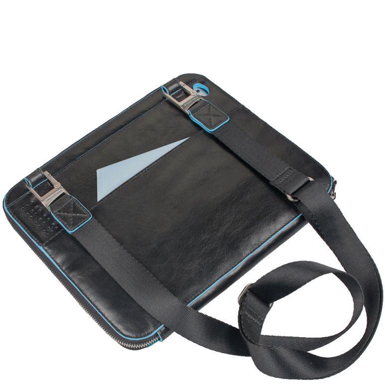 Чехол для IPad 2 Piquadro Blue square из черной кожи с плечевым ремнем