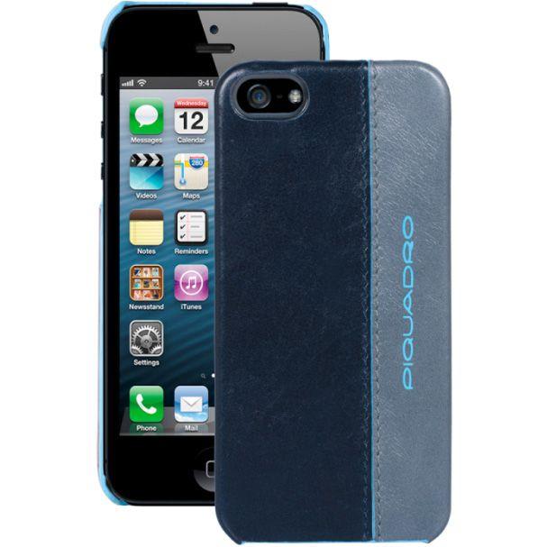 Чехол Piquadro Blue square для iPhone 5 кожаный в синем и сером цвете