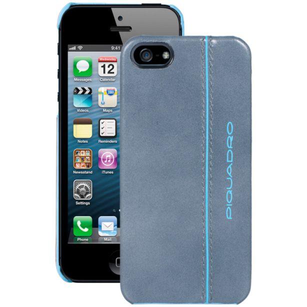 Чехол Piquadro Blue square для iPhone 5 кожаный серо-голубой