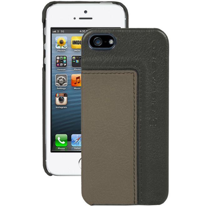 Чехол Piquadro Vibe для iPhone 5 из кожи бежевого и коричневого цвета с серым оттенком
