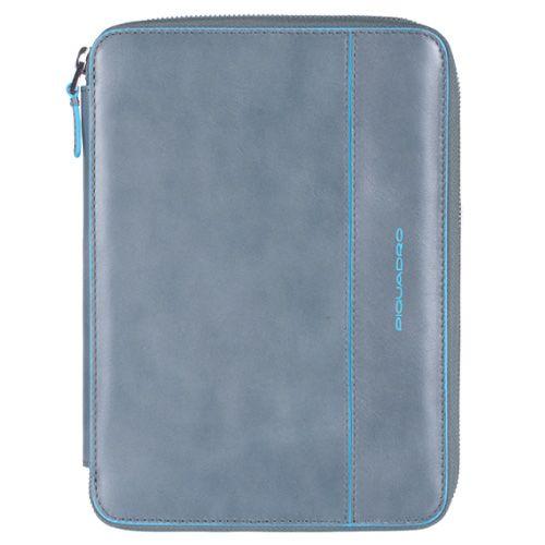 Чехол Piquadro Blue square для IPad Mini кожаный серо-голубой на молнии