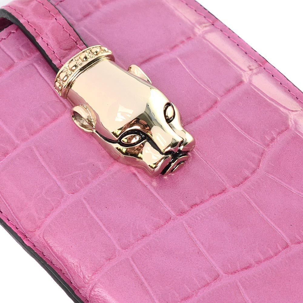 Чехол для iPhone Cavalli Class Daphne кожаный сиренево-розовый