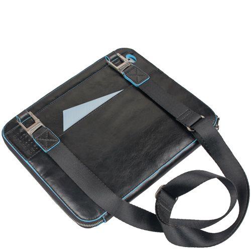Чехол для IPad 2 Piquadro Blue square из черной кожи с плечевым ремнем, фото