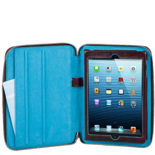 Чехол Piquadro Blue square для IPad Mini кожаный серо-голубой на молнии, фото