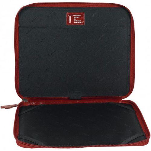Чехол Tavecchi Vintech для планшета 10' красный кожаный на молнии с ручкой, фото