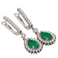 Серьги из золота с бриллиантами и зелеными изумрудами, фото