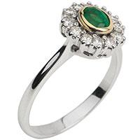 Кольцо из белого золота с изумрудом и бриллиантами, фото
