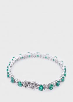 Теннисный браслет с изумрудами 7,92ct и бриллиантами, фото