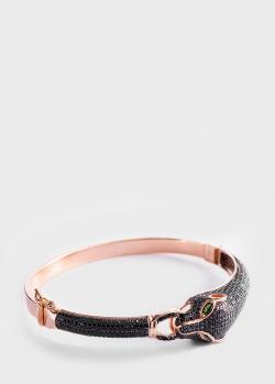 Золотой браслет Пантера с россыпью черных фианитов, фото