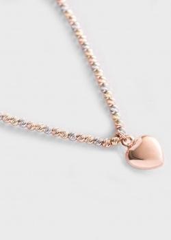 Золотое колье Сердечко с алмазной гранью, фото