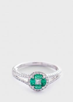 Кольцо из белого золота с изумрудами и бриллиантами, фото
