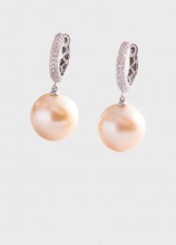 Золотые серьги с бриллиантовой россыпью и жемчугом, фото