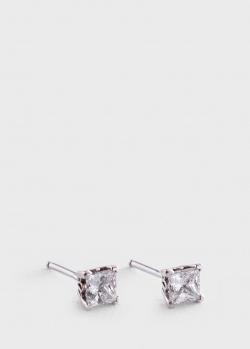 Серьги-гвоздики с бриллиантами 0.71ct квадратной формы, фото