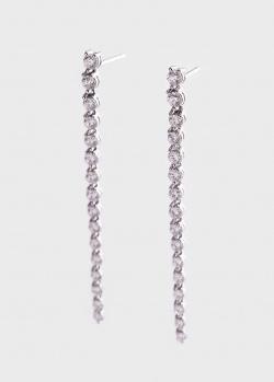 Золотые длинные серьги с бриллиантовой дорожкой 1.42ct, фото