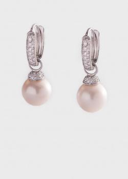 Серьги из белого золота с бриллиантами и жемчугом, фото