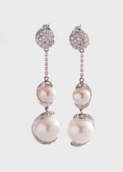 Серьги-подвески с жемчугом и бриллиантами 1.21ct, фото