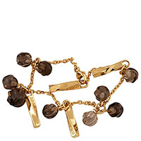 Золотой браслет с подвесками Nina Ricci с дымчатым кварцем, фото