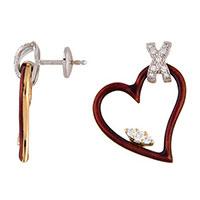 Серьги Faberge в форме красного сердца, фото
