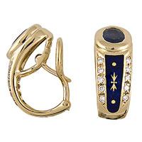 Серьги Faberge из желтого золота с сапфирами, фото
