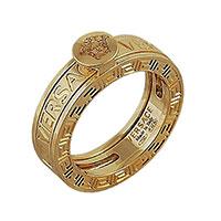 Золотое кольцо Versace с брендовым тиснением, фото