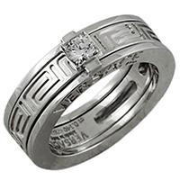 Резное кольцо Versace из белого золота с тиснением, фото