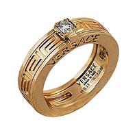 Резное кольцо Versace с тиснением и бриллиантом, фото
